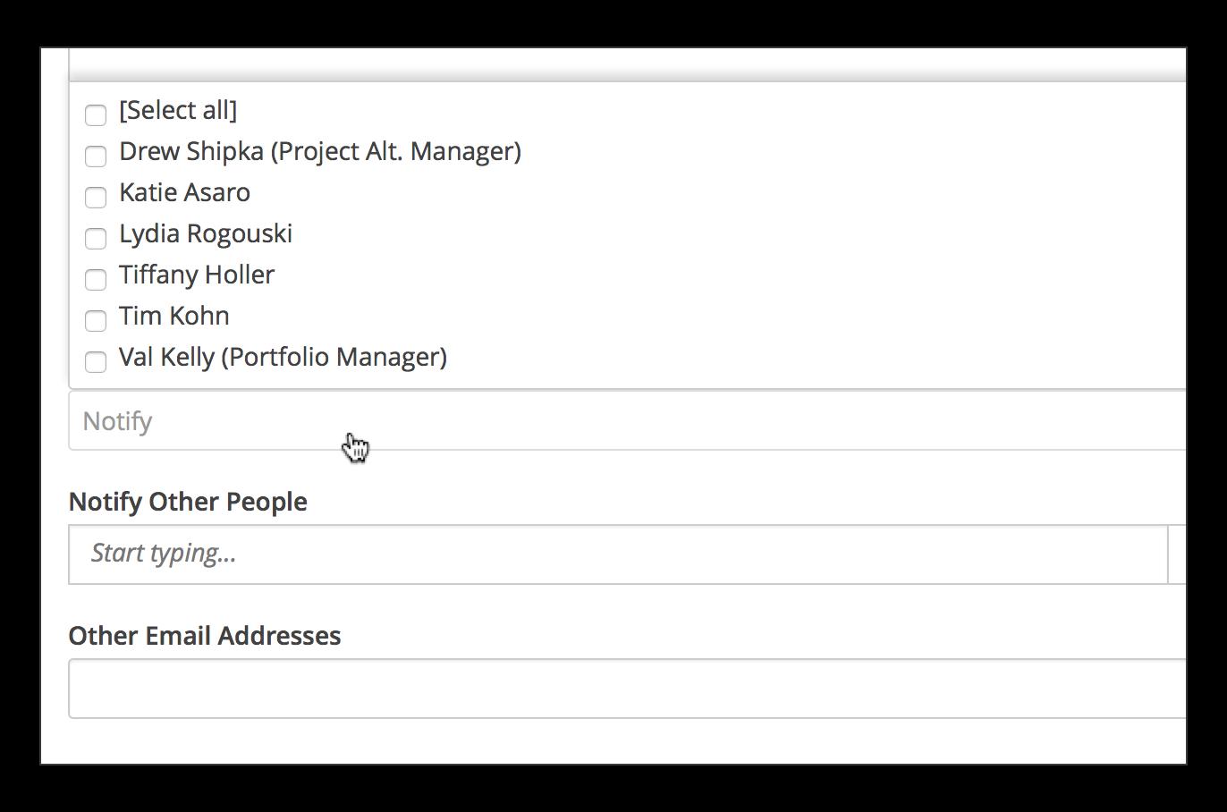 TDNext project status update notification attributes
